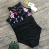 Black Floral Swimsuit with Halter Neck Cloth