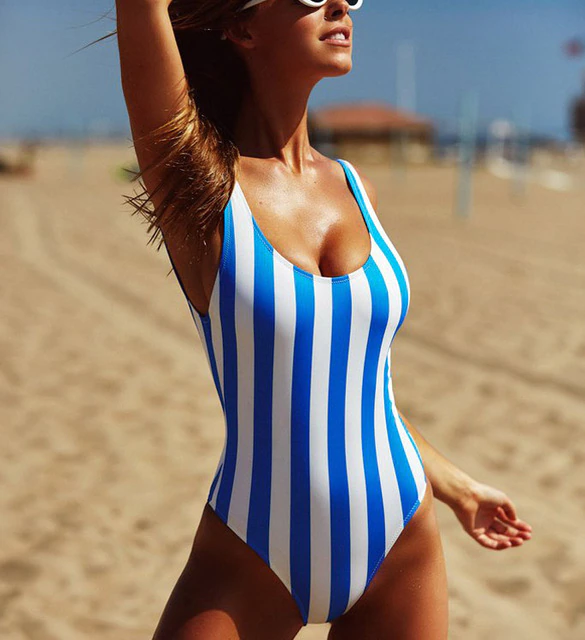 Blue & White Striped Swimsuit