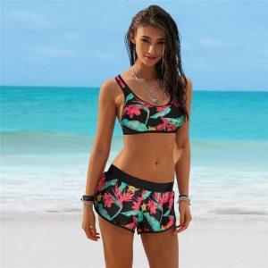floral-sports-bra-bikini-top-shorts-front